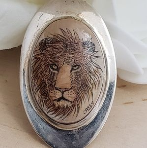 Jewelry - Vintage Sterling Silver Wooden Leo Lion Pendant